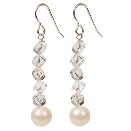 Pearl and quartz gemstone earrings