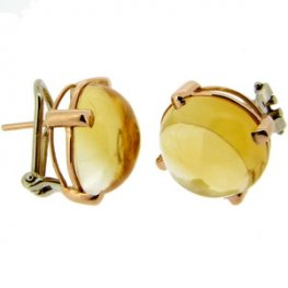 18ct Yellow Gold Cabochon Citrine Single Stone Earrings.