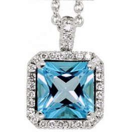 18ct White Gold Blue Topaz & Diamond Pendant. (Square shape)