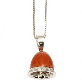An 18ct Gold Vibrant Red Coral and diamond Bell pendant.