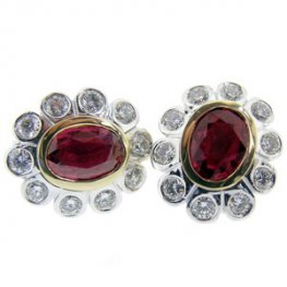 Ruby and Diamond Ear Studs. Fine pigeon blood rubies. 18k.