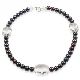 Black pearl and faceted rock crystal necklace