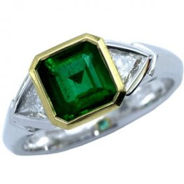 Contemporary Diamond and Emerald Dress Ring.