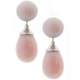 18ct White Gold 'Cherie' Pink Opal Pendant Earrings