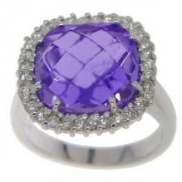 Amethyst & Diamond Ring designed as a Cluster - 18ct