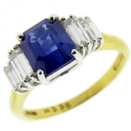 Octagon Sapphire and Diamond Art Deco Style Solitaire Ring.