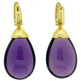 Amethyst Pendant Earrings Yellow Gold 'Mandorla'
