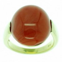 18ct Gold Red Coral Ring - Yellow Gold (750)