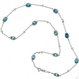 Blue Zircon and Diamond necklace