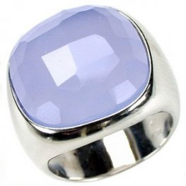 A Designer Chalcedony Cocktail Ring. White Gold 750.