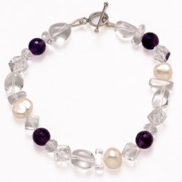 Amethyst Pearl and Clear Quartz Bracelet