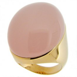 A stunning Large Pink Rose Quartz Solitaire Ring. 18K - 750.