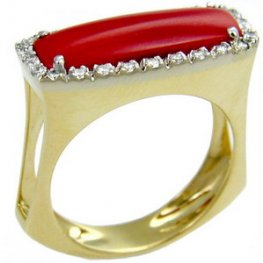 Coral. 18ct Diamond and Coral Ring