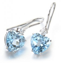 Enchanting Heart Shape Blue Topaz and Diamond Earrings. 18ct.