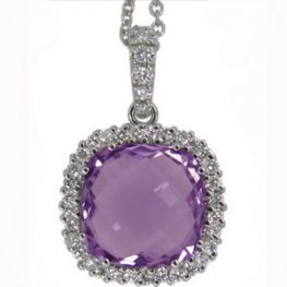18K Amethyst Pendant set with Brilliant Cut Diamonds.