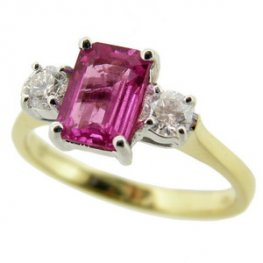 Rectangular Pink Sapphire and Diamond Ring.