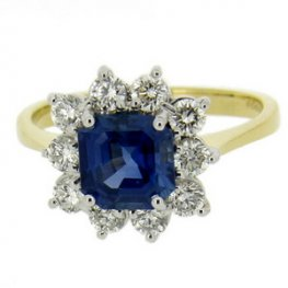 Beautiful Blue 18k Square Sapphire Cluster ring