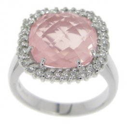 18 carat White Gold. Rose Quartz and Diamond Ring.