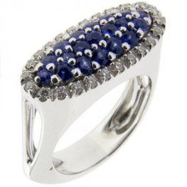 A Contemporary Blue Sapphire and Diamond cluster ring.