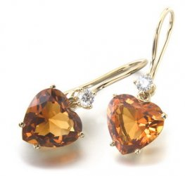 A pair of 18k Yellow Gold Heart Citrine & Diamond Earrings. 750