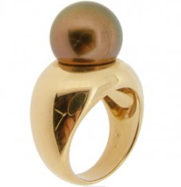 Chocolate Bon Bon Pearl Ring 18ct