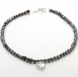 Grey black fresh water Pearl and Clear Quartz Necklace