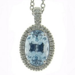 White Gold Diamond & Aquamarine Cluster Pendant - 18ct