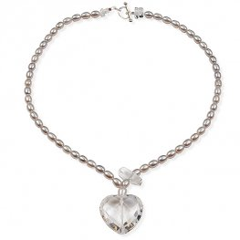 Grey freshwater pearl and faceted quartz heart necklace