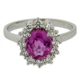 Pink Sapphire Cluster Ring with Diamonds 18ct gold.