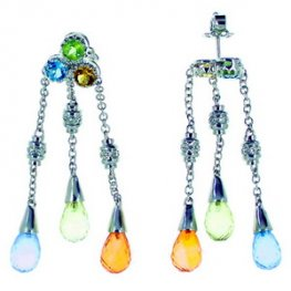 Diamond and Multi Gemstone Earrings. 18k White Gold.