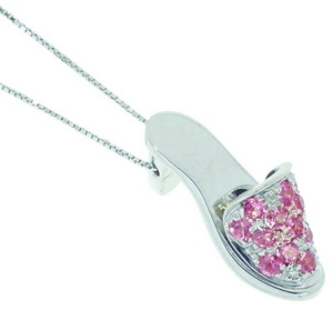 18ct gold Pink Sapphire Slipper Shoe Pendant.