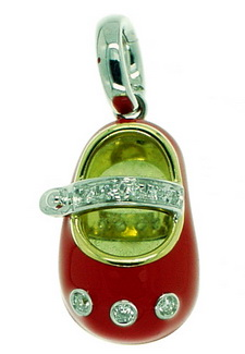 An Adorable Red Enamel and Diamond Baby Shoe. 18ct Gold - 750