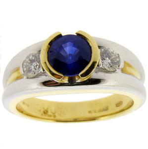 Modern Sapphire and Diamond Trilogy Ring - 18k / 750.