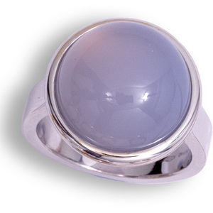 Contemporary White Gold Blue Chalcedony Ring.