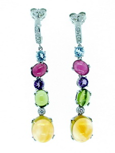 Pair of colourful Multi Gemstone and Diamond Earrings.18ct.