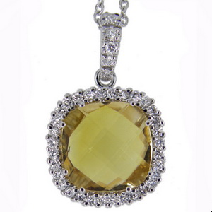 White Gold Citrine and Diamond Pendant - 18ct Gold.