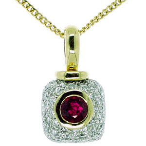 Round Ruby & Pave Diamond Pendant. 18ct Gold.