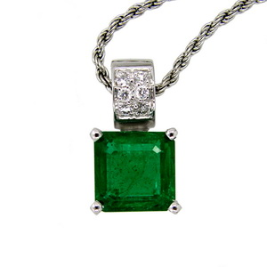 Square Emerald and Pave Diamond Pendant. 18ct White Gold.